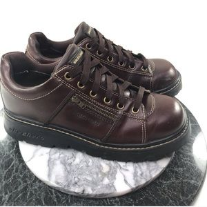 Skechers Brown Leather Platform Chunky Shoes 9